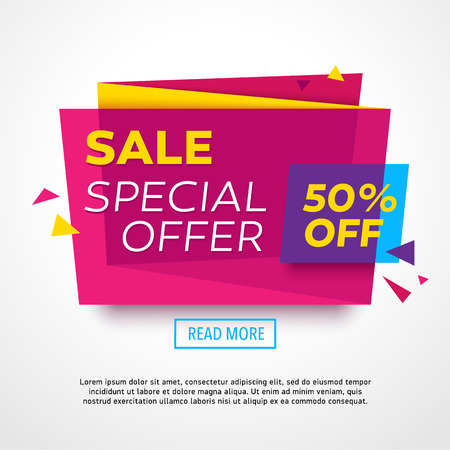 Ecommerce bright vector banner. Nice plastic cards in material design style. Transparent blue, purple and yellow paper. Stock Vector - 51275769