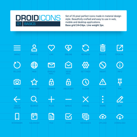 line material: DROID ICONS. Set of 35 flat line art vector icons made in material design style. Easy to use in web, mobile and desktop applications. Illustration