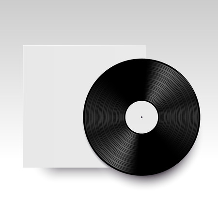 jockey: Vector isolated vinyl disc with its cover. Clear template ready for your design. Realistic mock up. Illustration