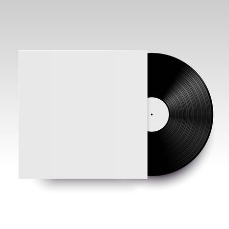 disc jockey: Vector isolated vinyl disc with its cover. Clear template ready for your design. Realistic mock up. Illustration