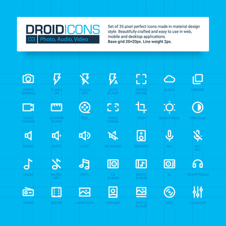 audio video: DROID ICONS. Set of 35 flat line art vector icons made in material design style. Easy to use in web, mobile and desktop applications. Photo, audio, video theme.