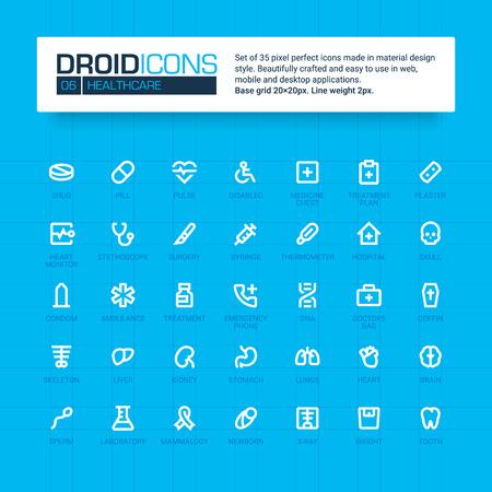 DROID ICONS. Set van 35 vlakke lijn art vector iconen gemaakt in materiaal design stijl. Gemakkelijk te gebruiken in web, mobiele en desktop-applicaties. Geneeskunde en gezondheidszorg thema. Vector Illustratie