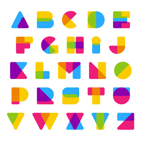 Vector colorful alphabet made of simple rounded overlaping shapes. Beautiful vivid capital latin letters from A to Z. Ready for poster or artwork design.