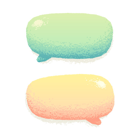 Cute vector talking bubbles in hand drawn style. Beautiful crayon effect. Not an auto trace, simple to change color.