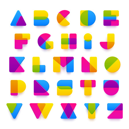 Vector colorful alphabet made of plastic rounded overlaping shapes with realistic shadows. Beautiful vivid capital latin letters from A to Z. Ready for poster or artwork design.