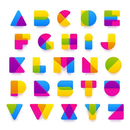 Vector kleurrijke alfabet gemaakt van plastic afgeronde overlaping vormen met realistische schaduwen. Mooie levendige hoofdstad Latijnse letters van A tot Z. Klaar voor poster of artwork design. Stock Illustratie