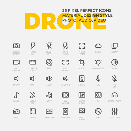 DRONE ICONS. Set of 35 flat line art vector icons made in material design style. Easy to use in web, mobile and desktop applications. Photo, audio, video theme.