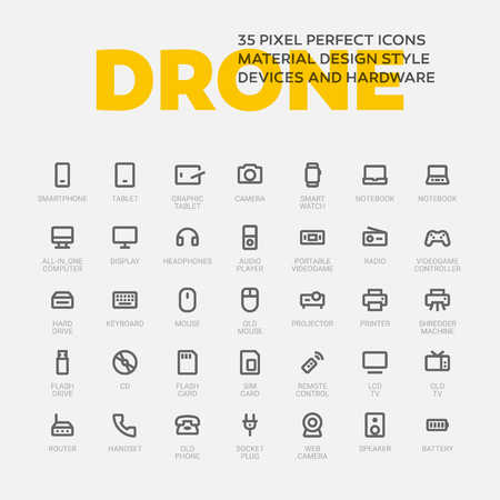 DRONE ICONS. Set of 35 flat line art vector icons made in material design style. Easy to use in web, mobile and desktop applications. Devices theme.
