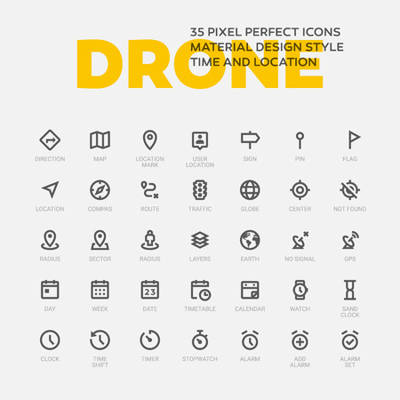 DRONE ICONS. Set of 35 flat line art vector icons made in material design style. Easy to use in web, mobile and desktop applications. Time and location theme.