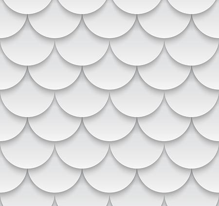 Naadloze geometrische patroon met 3D-effect. Wit dak tegels. Stock Illustratie
