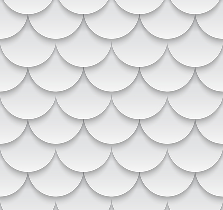 shingles: seamless geometric pattern with 3D effect. White roof tiling.