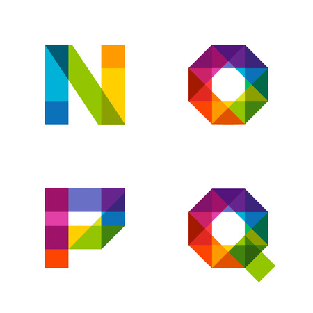 rainbow print: colorful alphabet made of overlapping shapes. Beautiful vivid capital latin letters. Ready for poster or artwork design. Illustration