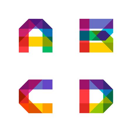 重なっているシェイプのカラフルなアルファベットが作られました。美しい鮮やかなラテン大文字。ポスターやアートワーク設計のため準備ができ