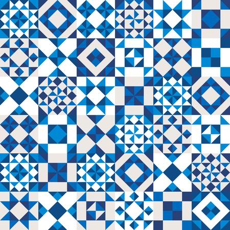 ブルー、ネイビーと白の作品で作られた幾何学的なセラミックのテクスチャです。Potugal スタイル シームレス パターン。