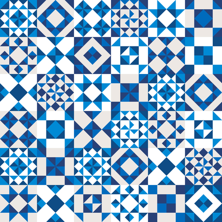 quilt: geometric ceramic texture made of blue, navy and white pieces. Potugal style seamless pattern.