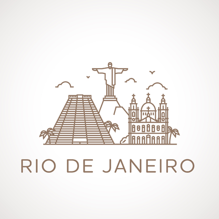 places of interest: Trendy line illustration of Rio de Janeiro with different famous buildings and places of interest. Modern vector line-art design.