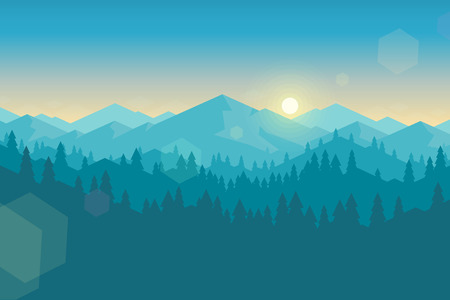 fog forest: Vector mountains and forest landscape early in the morning. Beautiful geometric illustration.
