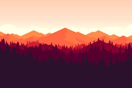 ベクトルの山と夕日に早く森林風景。美しい幾何学的な図。