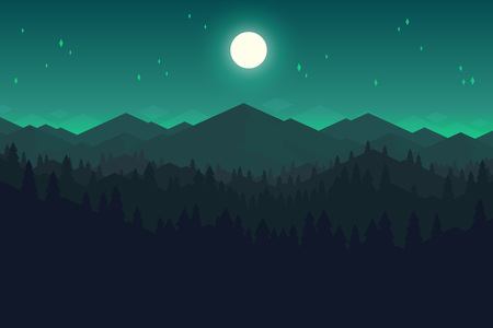 Vector mountains and forest landscape in the night. Beautiful geometric illustration. Ilustração