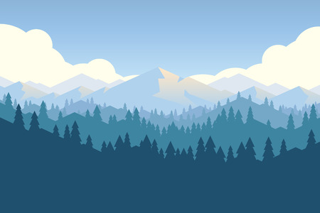 Vector mountains and forest landscape early in a daylight. Beautiful geometric illustration. Çizim