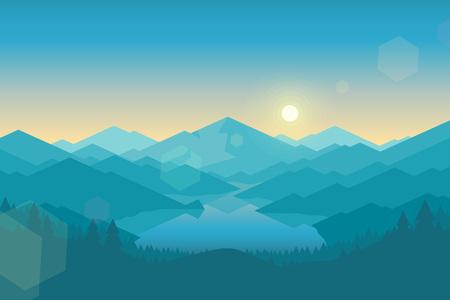 Vector bergen en bos landschap in de vroege ochtend. Mooie geometrische illustratie.
