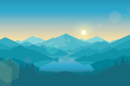 forest landscape: Vector mountains and forest landscape early in the morning. Beautiful geometric illustration.