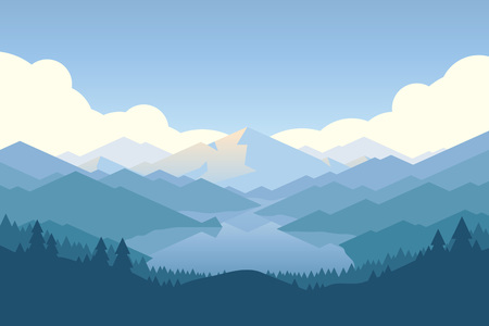 Vector mountains and forest landscape early in a daylight. Beautiful geometric illustration. Ilustração