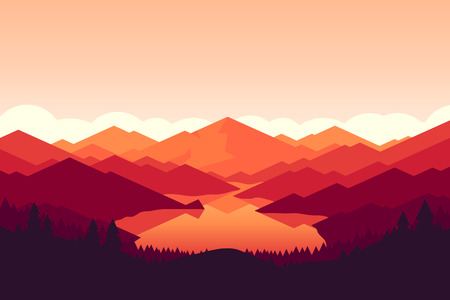 Vector mountains and forest landscape early on the sunset. Beautiful geometric illustration.