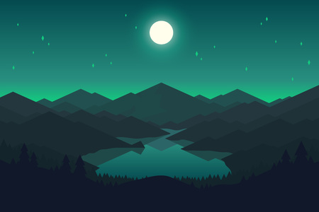 Vector mountains and forest landscape in the night. Beautiful geometric illustration. Çizim