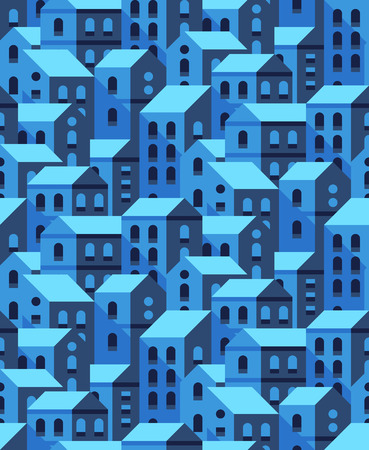 seamless pattern with flat style houses. Small city or town texture.