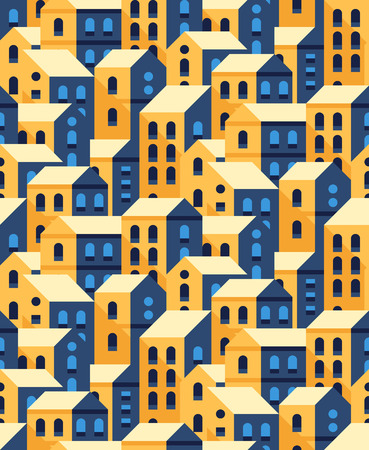neighbourhood: seamless pattern with flat style houses. Small city or town texture.