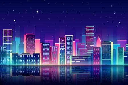 city: Ilustración de la ciudad la noche con luces de neón y colores vivos.