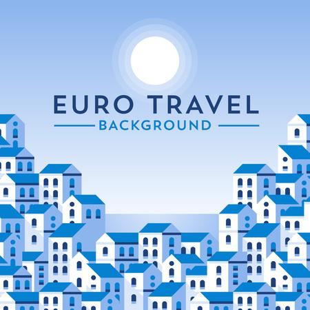 neighbourhood: template with european landscape. Minimalistic design. Flat illustration style. Illustration