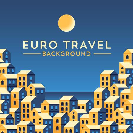 style template: template with european landscape. Minimalistic design. Flat illustration style. Illustration