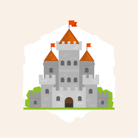 Middeleeuws stenen kasteel. Platte stijl illustratie.