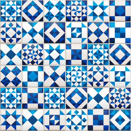 Realistic ceramic texture made of blue, navy and white pieces. Portugal style seamless pattern.