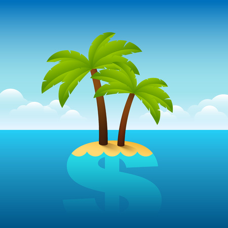 leaks: Illustration of palm tree growing on a dollar sign. Illustration