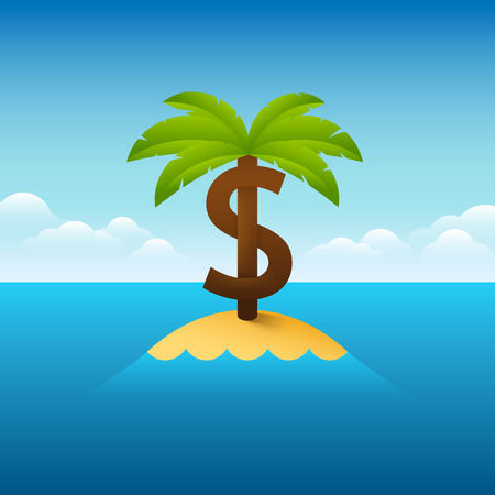 Illustration about palm tree in shape of a dollar sign. Vettoriali