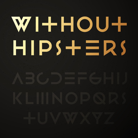 gold alphabet: Hipster geometric font. Trendy sans-serif typeface. Latin alphabet from A to Z. Illustration