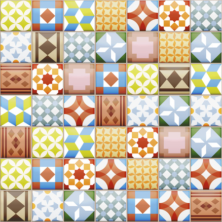 spanish style: Realistic ceramic texture made of vintage tiles. Spanish style seamless pattern. Illustration