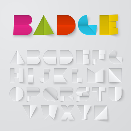 alphabet letters: Font made of cut and folded paper. Latin alphabet, letters from A to Z. Easy to apply different colors.