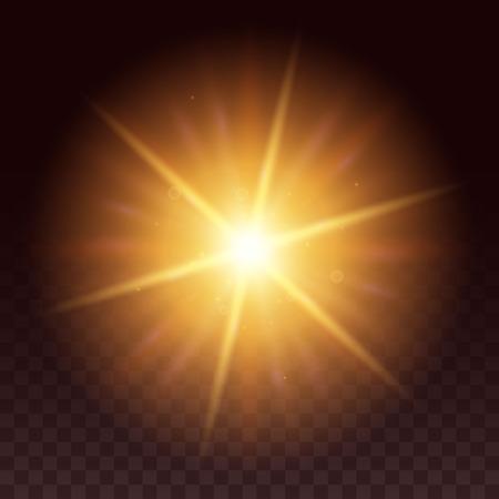 ベクトルの輝き光の効果。輝きと黒の背景に分離したスター バースト。太陽や星から黄色の六角形のレンズ フレア。