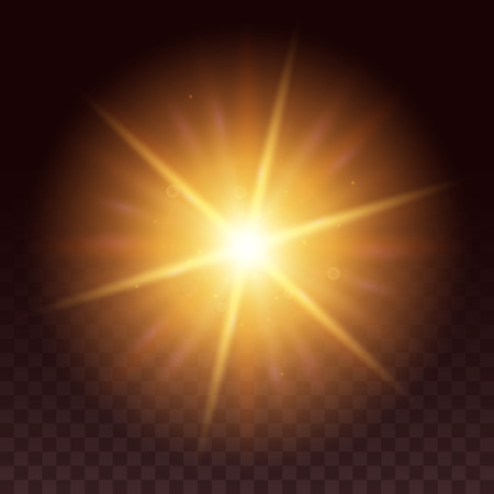 Vector glow light effect. Star bursts with sparkles isolated on black background. Yellow hexagon lense flare from sun or star.
