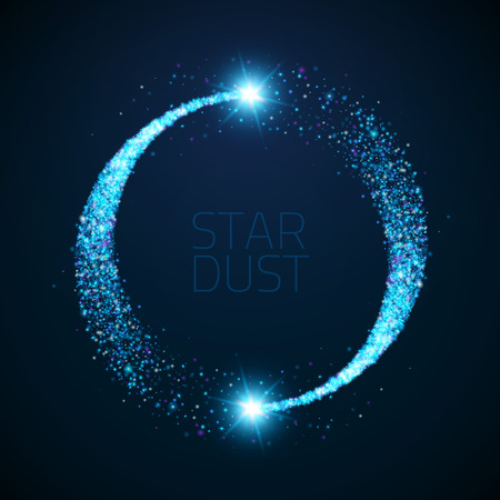 Vector star dust circle. Magic glittering illustration. Bright sparkes and stars on dark background