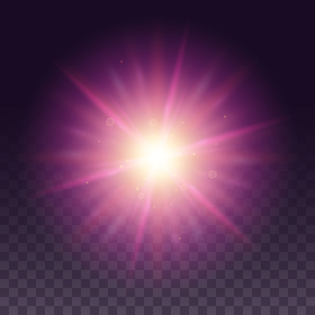 lense: Vector glow light effect. Star bursts with sparkles isolated on black background. Purple hexagon lense flare from sun or star.