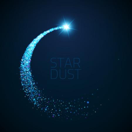 Vector ster stof cirkel. Magic schitterende illustratie. Heldere Sparkes en sterren op een donkere achtergrond