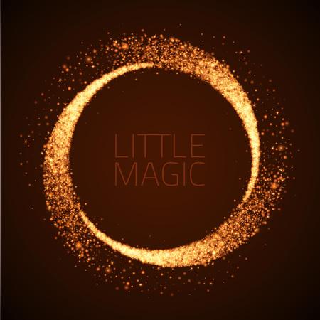 Vector star dust circle. Magic glittering illustration. Bright sparkes and stars on dark background
