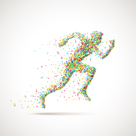 running man: Running man silhouette made of geometric particles. Runner in motion with colorful pieces and different shapes. Running man icon design. Illustration