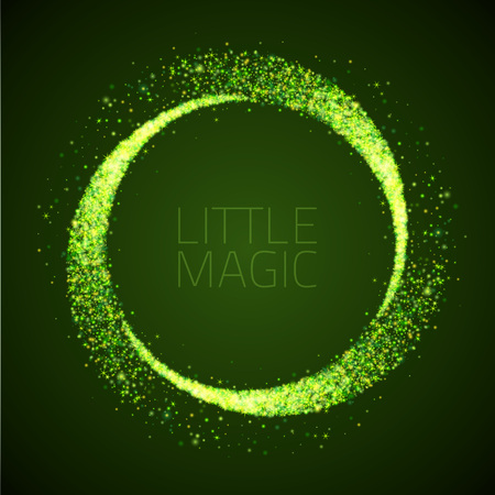 star dust circle. Magic glittering illustration. Bright green sparkes and stars on dark background Stock Vector - 57051444