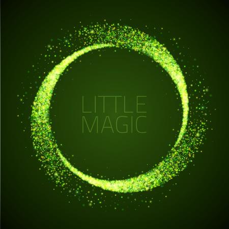 star dust circle. Magic glittering illustration. Bright green sparkes and stars on dark background